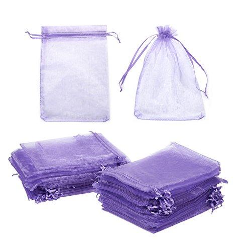 Juvale 100-Stück Organza Taschen - lila Schmuck Beutel Kordelzug Hochzeitsgeschenk Taschen, Baby-Dusche gefallen Taschen, 4.87 x 7.16 Zoll
