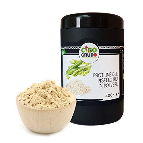 Cibocrudo Proteine Del Pisello In Polvere, Pea Protein Isolate, Vegatali Crude Perfette per Sportivi e per Integrare L'Alimentazione Quotina In Smoothie e Frullati – 400G