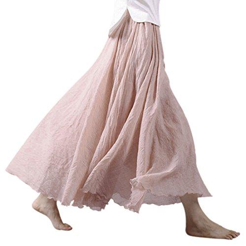 Ezcosplay Women Bohemian Cotton Linen Double Layer Elastic Waist Long Maxi Skirt
