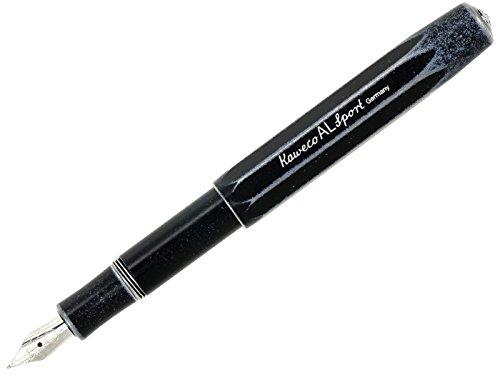 Kaweko - Pluma estilográfica Al Sport con efecto imitación a piedra, punta de grosor medio, color negro