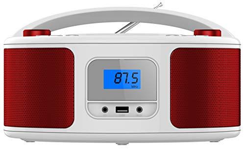 Tragbarer CD-Player   Boombox   CD/CD-R   USB   FM Radio   AUX-In   Kopfhöreranschluss   CD Player   Kinder Radio   CD-Radio   Stereoanlage   Kompaktanlage (Candy Red)