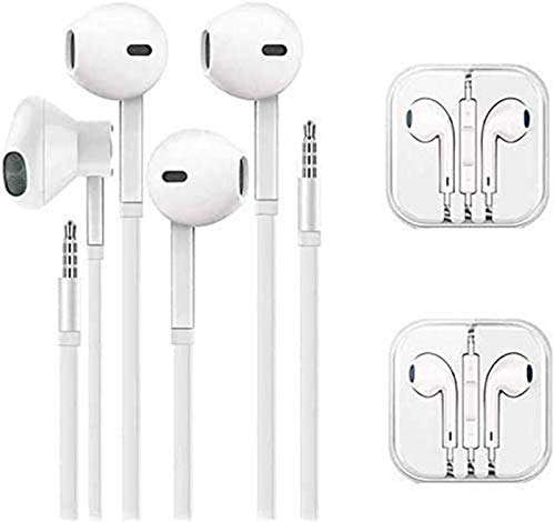 (2 Pack) Aux Headphones/Earbuds 3.5mm Wired Headphones Noise Isolating with