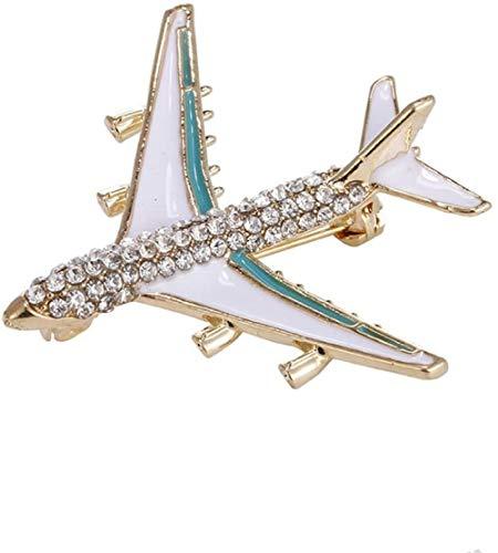 Strass vliegtuig vliegtuig model broche corsage pin legering kristallen sieraden kleding pak decoratie voor vrouwen dames geschenk (rood)