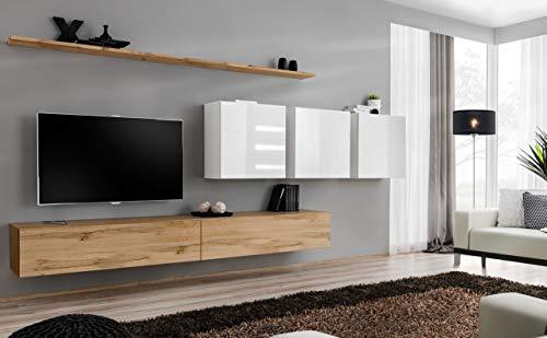 all4all Wohnwand mit Hochglanz TV Board Anbauwand Schrankwand Fernsehwand Wohnzimmerset Lowboard Kleine Wohnwand Fernsehschrank TV Lowboard Weiß Schwarz Grau Wotan SW 7 (Wotan - Weiß - Omega)
