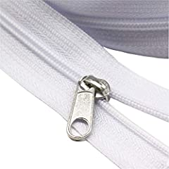 YaHoGa #3 small teeth size white nylon coil zippers by the yard bulk Quantity: 10 yards zippers + 25pcs matched non-locking sliders Width : about 24mm when zipped YaHoGa zippers are used for DIY Sewing Tailors' Crafts, Bags, etc