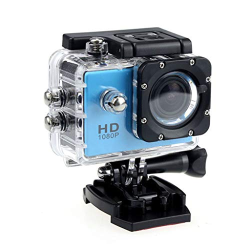VWsiouev Action Camera New Sport Action Camera HD 1080P impermeabile DVR Cam DV Videocamera (blu)