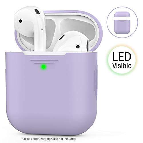 AHASTYLE AirPods Hülle Silikon AirPods Case [Front-LED Sichtbar] Kompatibel mit Apple AirPods 2 & 1 (2019) … (Ohne Karabiner, Lavender)
