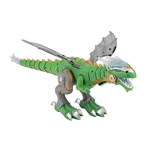 Zerodis Buntes LED-Licht Elektrischer Dinosaurier Spielzeug echte Bewegung Jurassic Dinosaurier mit Walking Spray Funktion Brüllton für Kinder Baby Spielzeug grün