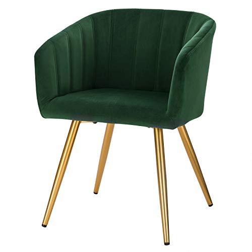EUGAD 0658BY-1 Esszimmerstühle 1x Küchenstuhl mit Rückenlehne, Samt Gestell aus Stahl, Besucherstühle für ESS- und Wohnzimmer Gold Beine Dunkelgrün