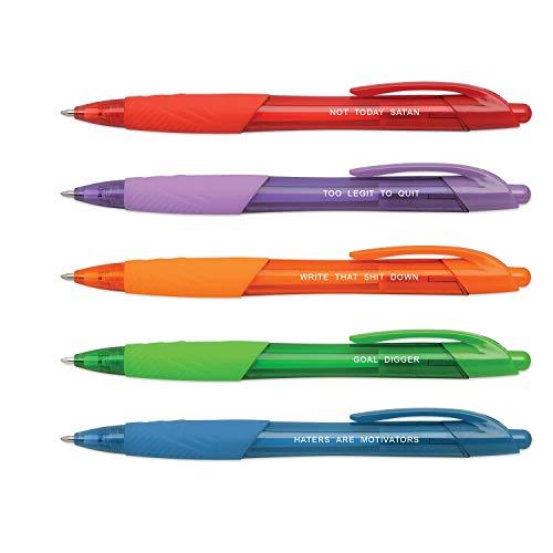 Motivational Pen Set / 5 Multi-color Inspirational and Funny Pens Gift Set