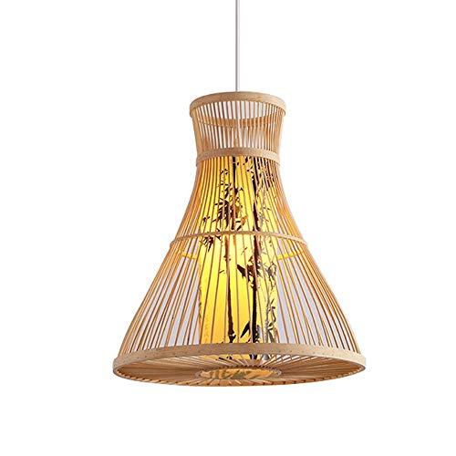 PGONE Estilo del Sudeste Asiático Lámpara Colgante Lámpara De Bambú Natural Lámpara De Techo Colgante Hecha A Mano Creativa Accesorio Pintura De Tinta Pantalla De Lámpara E27