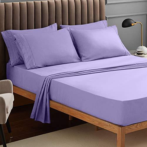 Veeyoo - Set biancheria da letto con tessuto antipiega, ipoallergenico, di qualità albergo, extra morbido con bordi profondi, composto da federe e lenzuola, Microfibra, Lavender, Singolo