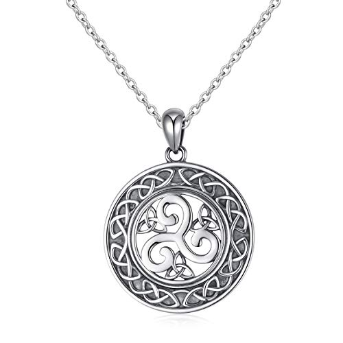 925 Sterling Silver Jewelry Oxidized Good Luck Irish Knot Celtic Medallion Round Triple Spiral Pendant Necklace, 20 inch