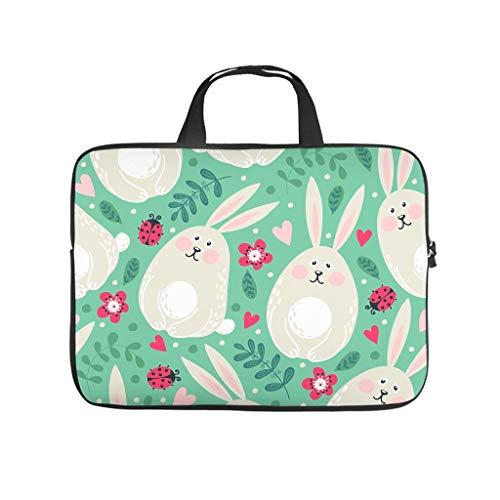 Fugift Funda protectora para tableta, diseño de conejo de Pascua, diseño de flores, mariquita, resistente a los arañazos, poliéster, color blanco