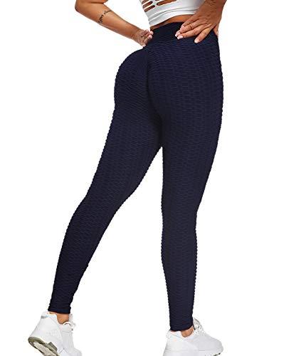 SLIMBELLE® Legging de Sport Anti Cellulite Push Up Butt Lift Pantalon de Compression Taille Haute Pour Yoga Fitness Slim Fit Bleu Marin M