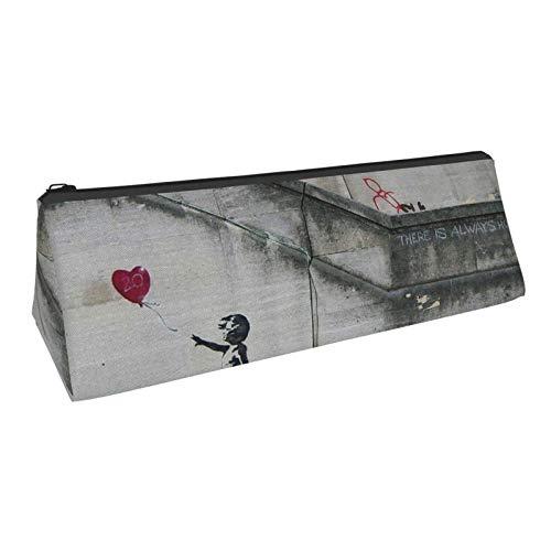 Federmäppchen, es gibt immer Hoffnung und Mädchen mit Luftballons Drucken Kosmetiktasche Dreieck langlebige tragbare Briefpapier Aufbewahrungsbox Bleistift Tasche Stift Tasche