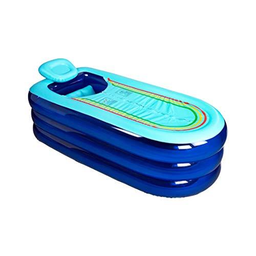 AHP Bañera Inflable, hogar Adulto Engrosamiento Sauna Plegable, vaporización de Doble propósito Familia inmersión bañera (Color : Blue)