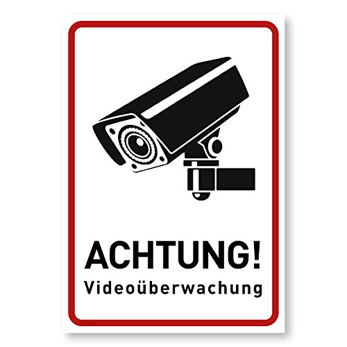 Achtung Videoüberwachung Schild (14x20 cm Alu Hochkant) - Warnschilder und Hinweisschilder - Videoüberwacht Schilder (Metall)