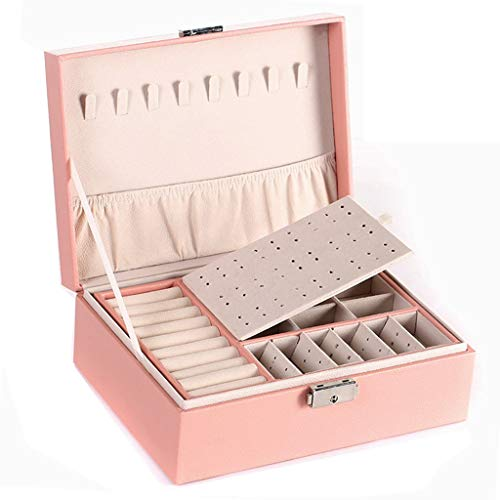 Joyería Joyero con Cerradura Caja de Almacenamiento de Pendientes Colgador de Collar Soporte de exhibición Joyero de niña (Color : Pink, Size : 23 * 17 * 9cm)
