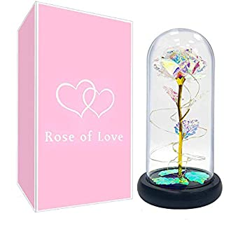TURNMEON Gift for Moms 24K Gold Foil Led Rose Artificial Flowers Rose Warm White Led String Light Forever Glass Rose Gift for Mothers Day Women Wife Anniversary Wedding  Colorful