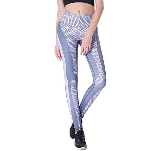 Mieuid dames sportlegging bijenstok druk yoga leggings chic sportbroek hoge taille fitnessbroek slim fit casual puur