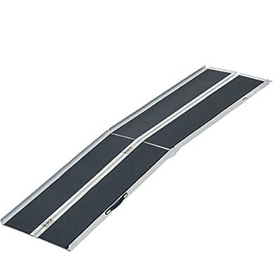 HOMCOM Lightweight Aluminum Portable Skidproof PVC Carpeted Folding Wheelchair Ramp, 8'