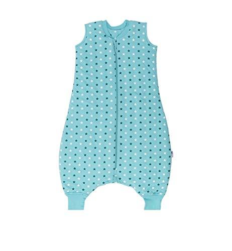 Schlummersack Schlafsack mit Beinen ungefüttert für den Sommer ungefüttert in 0.5 Tog - Teal Stars - 90cm mit Druckknöpfen an den Beinen