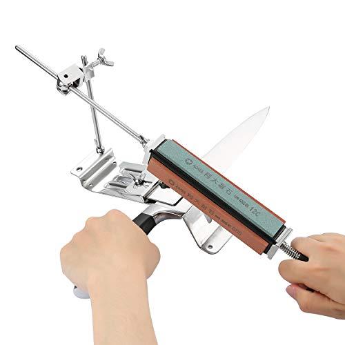 Tikitaka Affilacoltelli Professionale per affilare i fornelli da Cucina ad Angolo Fisso per affilatrice di coltelli Acciaio Inossidabile 4 Pietre per affilare