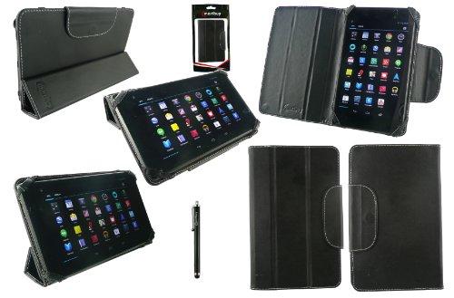 Emartbuy® Schwarz Eingabestift + Schwarz Universal-Tri-Fold Ultra Slim Mappen Kasten Abdeckung Geeignet für i.onik Global Tab L701 7 Zoll Tablet PC