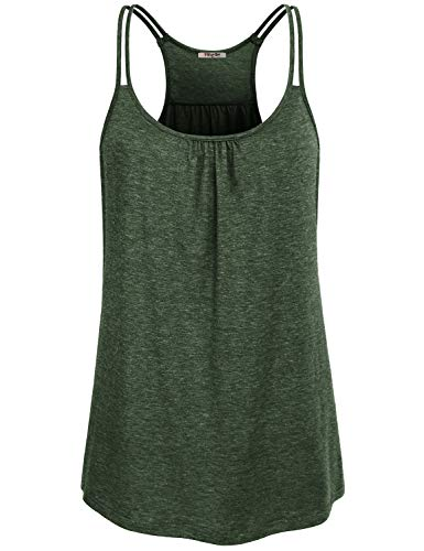 Hibelle Sleeveless Tops for Women, Summer Casual Layering Camisole Tank Scoop Neck Double Spaghetti Straps Racerback Cami Pleated Aline Flowing Fancy Undershirts Heathered Green Large