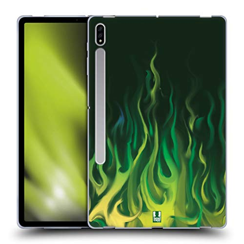Head Case Designs Green Blaze Hot Rod Flames Soft Gel Case Compatible With Galaxy Tab S7+ / Tab S7 Plus 5G