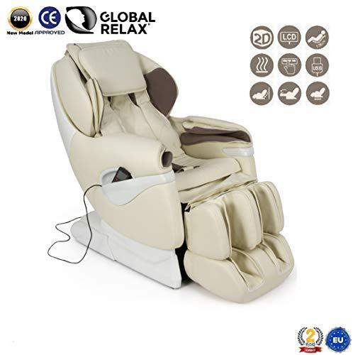SAMSARA® Sillon de masaje 2D - Beige (modelo 2020) - Sofa masajeador electrico de relax con shiatsu - Silla butaca con presoterapia, gravedad cero, calor y USB - Garantía 2 Años