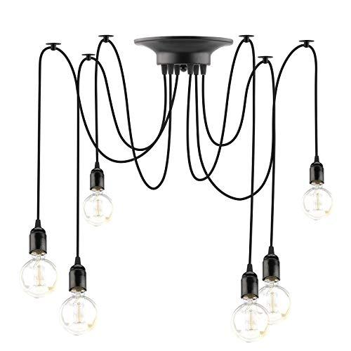 Lovbay Lámparas de Araña Colgante Retro Vintage Industrial Candelabro Iluminación Antigua Colgante E27 Ajustable DIY de Negro Incluir 6 E27 Luces para Sala de Estar Comedor Restaurante (No Bombilla)