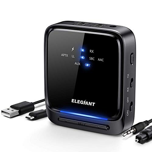 Bluetooth 5.0 トランスミッター レシーバー ELEGIANT Bluetooth ブルートゥース オーディオレシーバー 送信受信両用 光デジタル接続 3.5mmステレオミニプラグ対応 2台同時接続 高音質 低遅延 (ブラック)