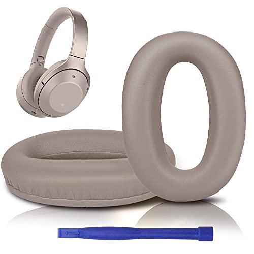 SOULWIT Almohadillas de Repuesto para Sony WH-1000XM2 & MDR-1000X, con Cuero de Proteína Suave, Espuma de Memoria de Aislamiento de Ruido, Espesor Agregado-Oro
