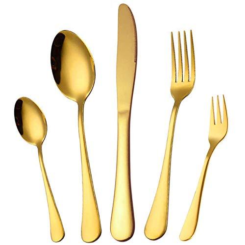 Elegant Life Besteck Set, Besteck 30 teilig für 6 Personen, Japanischer Edelstahlbesteck Messergabel-Löffel-Set, Hochwertige Spiegelpolierte Bestecksets für Haus, Küche, Restaurant (Gold glänzend)