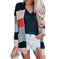 KIRUNDO Women's Open Front Cardigan Striped Color Block Long Sleeve Lightweight Fall Long Knit Cardigan Sweater Outwear