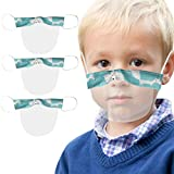 TOPEREUR 3 Stück Kinder Gesichtsschutz Gesichtsschild Offene Visier Mundschutz Wiederverwendbar Transparent Staubdicht VisierMundschutz Schutzschild für Schulkinder Jungen Mädchen