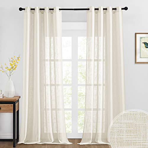 RYB HOME Semi Sheer Curtains - Linen Curtains Sheers for Bedroom High Ceiling Large Window Treatment Panels for Sliding Glass Door Living Room Dining, 52 x 108 inches Long, 2 Pcs, Warm Beige