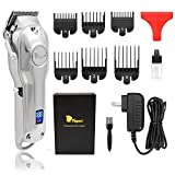 Hair Clippers with Extremely Fine Cutting, Hair Clippers for Men with Powerful Battery, Barber Clippers Cordless & Corded, Low Noise Professional Motor, 440C Self Sharp Blades & Digital Indicator