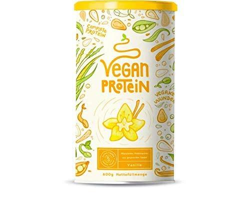 Vegan Protein | VANILLE | Pflanzliches Proteinpulver mit Reis-, Soja-, Erbsen-, Chia-, Sonnenblumen- und Kürbiskernprotein | 600 Gramm Pulver