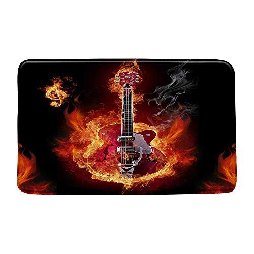AdaCrazy Flame Rock Hippie Música Guitarra eléctrica Familia Hotel Habitación Puerta Alfombra Baño Dormitorio Cocina Sala de Estar Alfombra para niños Material Antideslizante Franela 40x60cm