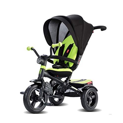 Carrito de bebe Cochecito bidireccional Jogging cochecito Pedal infantil Triciclo Neumáticos de goma Fácil de transportar for niños de 1 a 6 años Cochecito/Silla Paseo (Color : Green)
