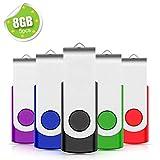 EASTBULL USB Stick 5 stück 8GB Mehrfarbig Speicherstick USB Sticks Data Datenspeicher, Mehrfarbig