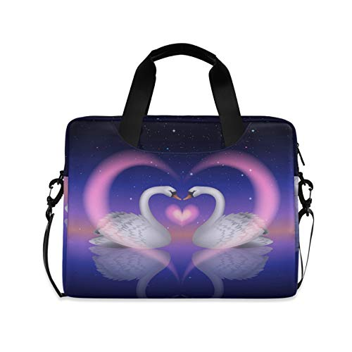 Ghypt - Maletín para ordenador portátil, diseño de cisne de animales, corazón, corazón, hombro, para viajes, escuela