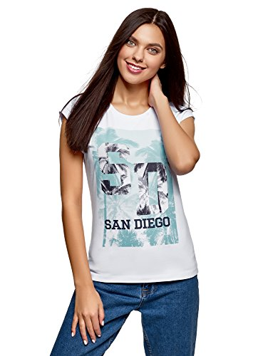 oodji Ultra Mujer Mujer Camiseta de Algodón con Estampado