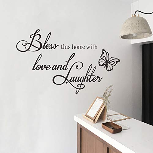 Wall Decals Stickers Bless This Home with Love and Laughter Vinyl Wall Saying Decal Peel and Stick Family Quotes Living Room Bedroom Decor DIY