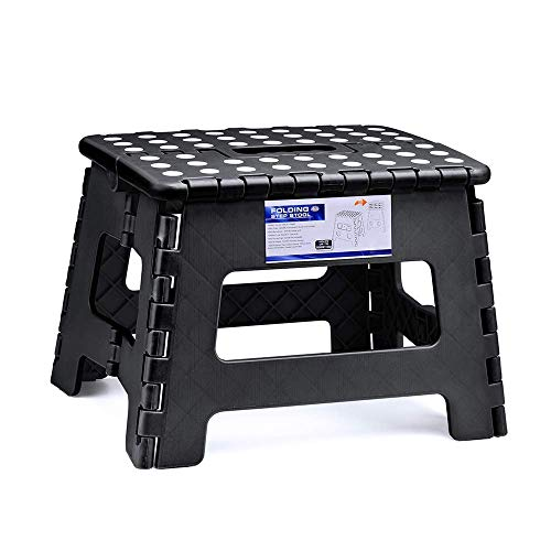 Delxo Folding Step Stool for Kids 9Inch Tall 11Inch Wide Foldable Step Stool Black
