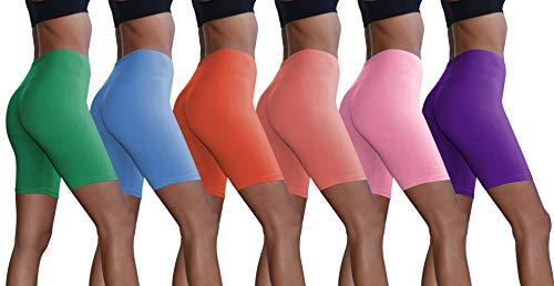 Sexy Basics Women's Active Dance Running Yoga Bike -Cotton Slip Shorts/Boy Short Boxer Briefs (Large, 6 Pack- Cherry,BoyBlue,PinkLavender,Arcadia, Dhalia, Violet)