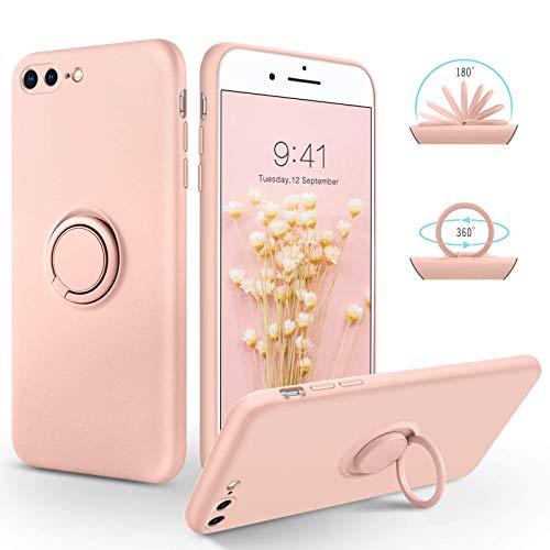 SouliGo iPhone 7 Plus Hülle, iPhone 8 Plus Hülle Handyhülle, Silikon Gel Slim Hülle Cover mit 360 Grad Ring Halter Ständer stabil Kratzfest Hülle für iPhone 7 Plus/8 Plus 5.5 Zoll Rosa pink